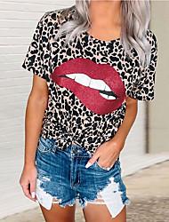 זול -בגדי ריקוד נשים נמר גראפי טישרט - דפוס צווארון עגול בסיסי יומי אביב קיץ פוקסיה חאקי חום אפור S M L XL