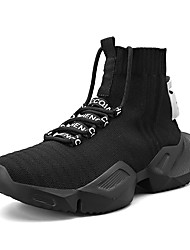 cheap -Men's Summer / Fall Sporty / Casual Daily Outdoor Trainers / Athletic Shoes Running Shoes / Walking Shoes Tissage Volant Breathable Non-slipping Height-increasing Black and White / White / Black