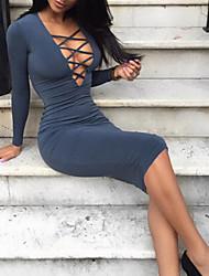 cheap -Women's A Line Dress - Long Sleeve Solid Color V Neck Slim White Black Gray S M L XL XXL