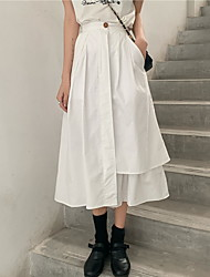 cheap -Women's A Line Skirts - Solid Colored White Black One-Size