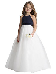 cheap -A-Line Floor Length Wedding / Party Flower Girl Dresses - Chiffon / Tulle Sleeveless Jewel Neck with Ruching