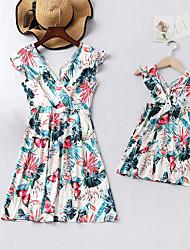 cheap -Mommy and Me Boho Sweet Blue & White Floral Print Sleeveless Knee-length Dress Blue