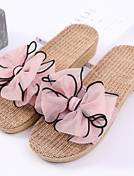 cheap -Women's Slippers House Slippers Ordinary / Casual Linen Bowknot Shoes