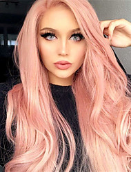 cheap -Synthetic Wig Matte Body Wave Asymmetrical Wig Pink Long Pink+Red Bright Purple Synthetic Hair 26 inch Women's Party Adorable Middle Part Pink Purple