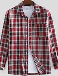 cheap -Men's Plaid Shirt - Cotton Tropical Hawaiian Holiday Beach Button Down Collar Red / Green / Long Sleeve
