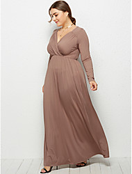 cheap -Women's Swing Dress Maxi long Dress - Long Sleeve Solid Color Ruched Summer Fall V Neck Plus Size Formal Elegant Holiday Going out 2020 White Black Wine Khaki Navy Blue M L XL XXL 3XL