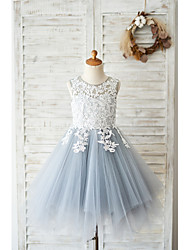 cheap -Ball Gown Knee Length Wedding / Birthday Flower Girl Dresses - Lace / Tulle Sleeveless Jewel Neck with Lace