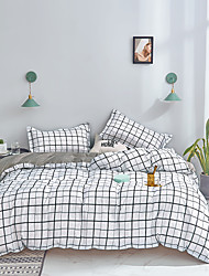 cheap -White Grid Bedding Sets Duvet Cover Sets Plaid Cotton Bedding Black Grid White Grid Geometric Modern Pattern Printed on White with Zipper Closure
