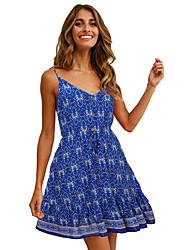 cheap -Women's Chiffon Dress - Sleeveless Geometric Spring Summer Sexy Mumu 2020 Black Blue Red S M L XL