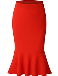 cheap -Women's Daily Wear Basic Bodycon Skirts - Solid Colored Black Red Royal Blue S M L
