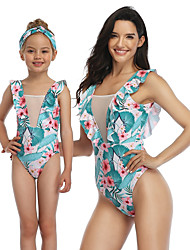 cheap -Mommy and Me Active Sweet Floral Color Block Graphic Backless Ruffle Print Sleeveless Short Above Knee Swimwear Blue