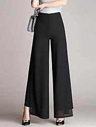 cheap -Women's Basic Loose Wide Leg Pants Solid Colored Black