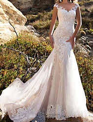 cheap -Mermaid / Trumpet Wedding Dresses Jewel Neck Chapel Train Lace Tulle Sleeveless Glamorous with Lace Insert Appliques 2021
