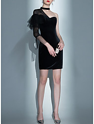 cheap -Mermaid / Trumpet Little Black Dress Party Wear Cocktail Party Dress One Shoulder 3/4 Length Sleeve Short / Mini Velvet with Lace Insert 2020