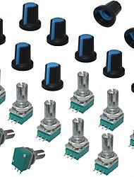 Недорогие -Один линейный поворотный уплотнитель усилитель потенциометры типа 10 К ом с накаткой вала 3pin rk097n-3-10k