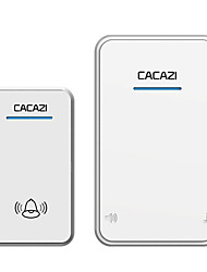cheap -CACAZI white/Black Long Range Wireless Doorbell DC Battery-operated 300M Remote 48 Chimes 6 Volume LED Light Home Cordless Bell
