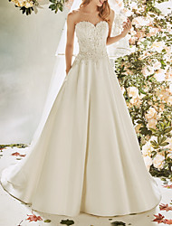 cheap -A-Line Wedding Dresses Strapless Sweep / Brush Train Lace Satin Sleeveless Vintage Sexy Wedding Dress in Color Backless with Pleats Embroidery Appliques 2020