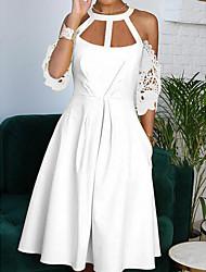 Недорогие -Жен. Платье A-силуэта Платье средней длины - Короткие рукава Сплошной цвет Лето Формальная 2020 Белый Желтый S M L XL
