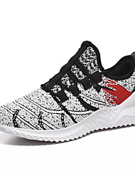 cheap -Men's Spring & Summer Sporty Athletic Trainers / Athletic Shoes Running Shoes Elastic Fabric Non-slipping Black / Red / White Color Block