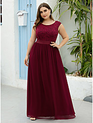 cheap -A-Line Mother of the Bride Dress Elegant Plus Size Jewel Neck Floor Length Chiffon Lace Sleeveless with Ruching 2020