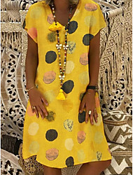 cheap -Women's A-Line Dress Knee Length Dress - Short Sleeves Polka Dot Summer Elegant 2020 Red Yellow Fuchsia Green Gray Light Blue S M L XL XXL XXXL XXXXL XXXXXL