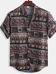 cheap -Men's Plaid Print Shirt Daily Button Down Collar Red / Short Sleeve