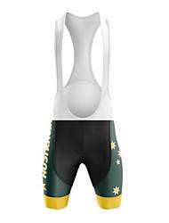 cheap -21Grams Men's Cycling Bib Shorts Bike Bib Shorts Padded Shorts / Chamois Pants Breathable 3D Pad Quick Dry Sports Australia National Flag Black / Yellow Mountain Bike MTB Road Bike Cycling Clothing