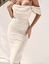cheap -Women's Wrap Dress Midi Dress - Sleeveless Solid Color Backless Ruched Summer Formal Elegant Party Going out 2020 White S M L