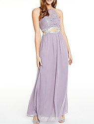 cheap -Sheath / Column Elegant Cut Out Holiday Prom Dress Halter Neck Sleeveless Floor Length Chiffon with Crystals Sequin 2020