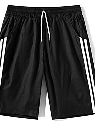 cheap -Men's Sporty Basic Plus Size Daily Going out Slim Sweatpants Shorts Pants - Striped Solid Colored Fantastic Beasts, Sporty Print Breathable Spring Summer Black Khaki Gray US32 / UK32 / EU40 / US34