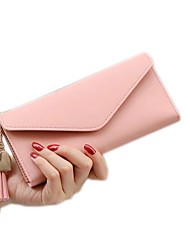 cheap -Women's Tassel PU Leather Wallet Solid Color Blushing Pink