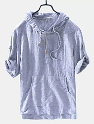 cheap -Men's Striped T-shirt Daily Hooded Blue / Brown / Gray / Short Sleeve