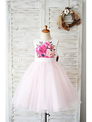 cheap -Ball Gown Knee Length Wedding / Birthday Flower Girl Dresses - Tulle Sleeveless Jewel Neck with Bow(s)