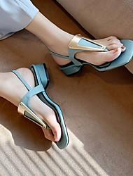cheap -Women's Sandals Leather Sandals Summer Cuban Heel Open Toe Daily PU Khaki / Blue / Beige