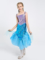cheap -The Little Mermaid Princess Dress Flower Girl Dress Girls' Movie Cosplay A-Line Slip Vacation Dress Blue Dress Children's Day Masquerade Satin / Tulle