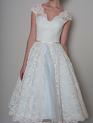 cheap -A-Line Wedding Dresses Sweetheart Neckline Knee Length Lace Satin Sleeveless Vintage 1950s Cape with Sashes / Ribbons Embroidery 2020 / Yes
