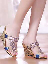 cheap -Women's Sandals Wedge Sandals Leather Sandals Summer Wedge Heel Open Toe Daily PU Purple / Gold / Blue