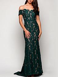 cheap -Sheath / Column Off Shoulder Court Train Lace Bridesmaid Dress with Lace / Appliques