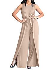 ieftine -pantsuit Rochie Mama Miresei Elegant Bijuterie Lungime Podea Șifon Fără manșon cu Pliuri Eșarfă / Panglică 2020