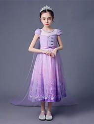 cheap -Princess Elsa Dress Flower Girl Dress Girls' Movie Cosplay A-Line Slip Vacation Dress Purple Dress Children's Day Masquerade Tulle Polyester