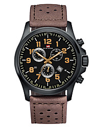 cheap -Men's Dress Watch Quartz Genuine Leather 30 m Water Resistant / Waterproof Calendar / date / day Day Date Analog Fashion Cool - Black / Yellow Black Brown One Year Battery Life