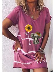 Недорогие -Жен. Платье-футболка ひざ丈ドレス - Короткие рукава С принтом Животное Лето На каждый день 2020 Лиловый Красный Желтый Зеленый Светло-синий S M L XL XXL XXXL XXXXL XXXXXL