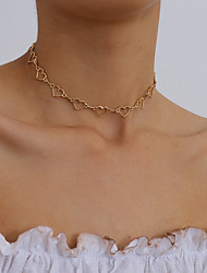 cheap -Women's Choker Necklace Classic Heart Korean Fashion Chrome Gold Silver 38 cm Necklace Jewelry 1pc For Party Evening Street