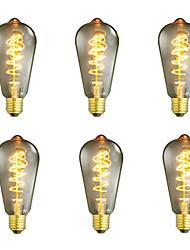 baratos -6pcs / 4pçs 40 W E26 / E27 ST64 Branco Quente Retro / Criativo / Regulável Incandescente Vintage Edison Light Bulb 220-240 V