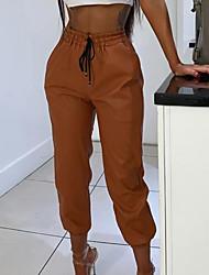 abordables -Femme Basique Chino Pantalon - Couleur Pleine Noir Vert Marron S M L