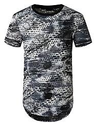 halpa -Miesten Geometrinen Painettu T-paita Perus Päivittäin Uima-allas / Tumman harmaa
