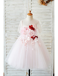 cheap -Ball Gown Knee Length Wedding / Birthday Flower Girl Dresses - Lace / Tulle Sleeveless Jewel Neck with Petal / Pearls