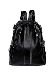Недорогие -Регулируется Воловья кожа Молнии Портфель рюкзак Сплошной цвет Повседневные Черный