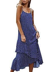 お買い得  -女性用 マキシ シース ドレス - ノースリーブ 波点 ストラップ ブルー ピンク グリーン ネイビーブルー S M L XL
