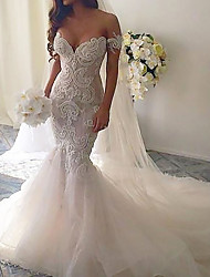 cheap -Mermaid / Trumpet Wedding Dresses V Neck Court Train Lace Tulle Short Sleeve Romantic See-Through with Embroidery 2021